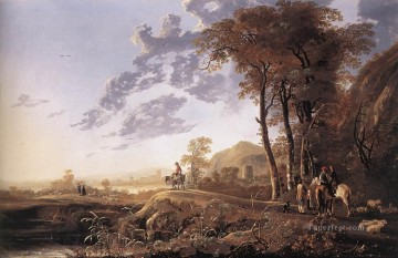 Aelbert Cuyp Painting - Evening landscape With Horsemen And Shepherds countryside scenery painter Aelbert Cuyp
