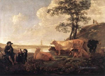painter Art - Landscape Near Rhenen countryside scenery painter Aelbert Cuyp