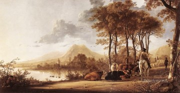 painter Art - River Landscape countryside scenery painter Aelbert Cuyp