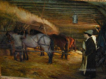 Stable Oil Painting - In the Stable Pascal Dagnan Bouveret
