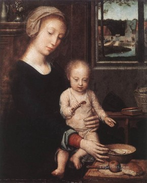David Gerard Painting - Madonna and Child with the Milk Soup Gerard David