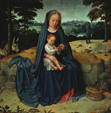 David Gerard Painting - the rest on the flight into egypt wga Gerard David