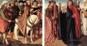 women Painting - Pilates Dispute with the High Priest The Holy Women and St John at Golgotha Gerard David