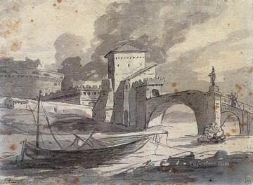 View of the Tiber and Castel St Angelo Neoclassicism Jacques Louis David Oil Paintings