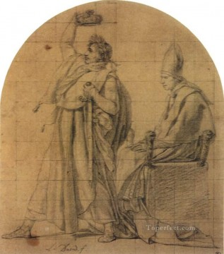 Row Painting - Napoleon Holding Josephines Crown Neoclassicism Jacques Louis David