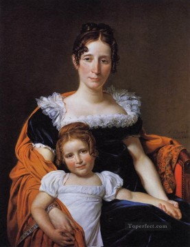 Portrait of the Comtesse Vilain XIIII and her Daughter Neoclassicism Jacques Louis David Oil Paintings
