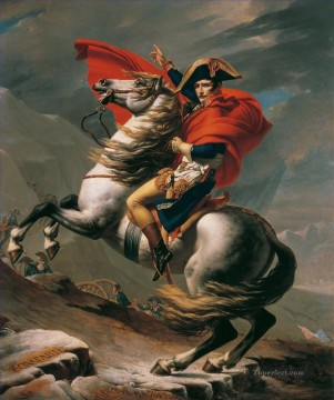 Bonaparte Calm on a Fiery Steed Crossing the Alps Napoleon Jacques Louis David Oil Paintings