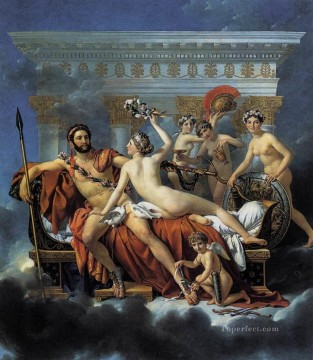 horse racing races sport Painting - Mars Disarmed by Venus and the Three Graces Jacques Louis David