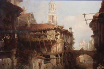 David Roberts R A Painting - Old Buildings on the Darro Granada David Roberts