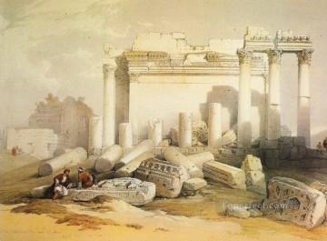 David Roberts R A Painting - portion of the eastern portico David Roberts