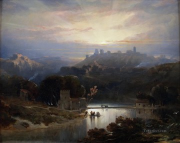 David Roberts R A Painting - the castle of alcal de guada ra 1833 David Roberts
