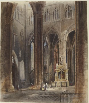 David Roberts R A Painting - Interior of Amiens Cathedral David Roberts