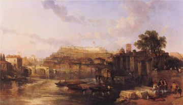 David Roberts R A Painting - rome view on the tiber looking towards mounts palatine and aventine 1863 David Roberts