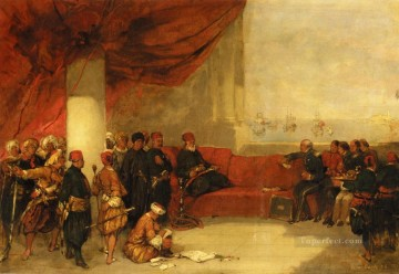 David Roberts R A Painting - interview with the viceroy of egypt at his palace in alexandria 1849 David Roberts