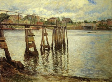 Joseph DeCamp Painting - Jetty at Low Tide aka The Water Pier landscape Joseph DeCamp