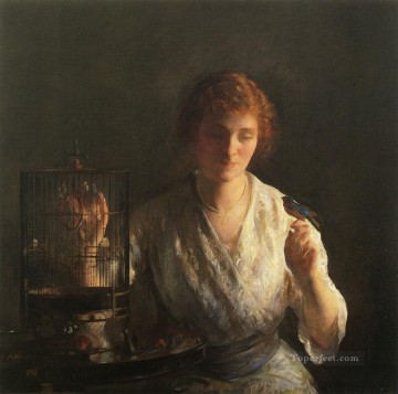 tonalism tonalist Painting - Blue Bird Tonalism painter Joseph DeCamp