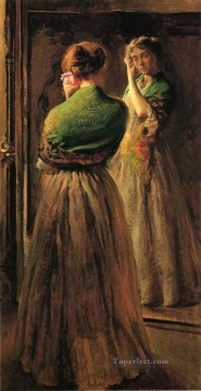 tonalism tonalist Painting - Girl with a Green Shawl Tonalism painter Joseph DeCamp