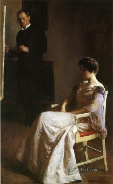 tonalism tonalist Painting - In the Studio Tonalism painter Joseph DeCamp