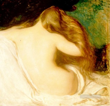 tonalism tonalist Painting - R Woman Drying Her Hair Tonalism painter Joseph DeCamp