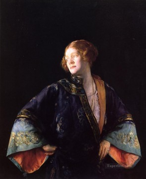 tonalism tonalist Painting - The Blue Mandarin Coat aka The Blue Kimono Tonalism painter Joseph DeCamp