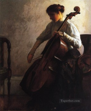 tonalism tonalist Painting - The Cellist Tonalism painter Joseph DeCamp