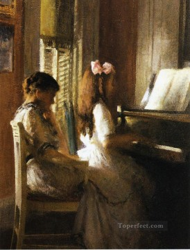 tonalism tonalist Painting - The Music Lesson Tonalism painter Joseph DeCamp