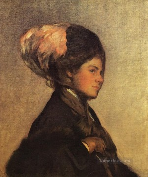 Row Painting - The Pink Feather aka The Brown Veil Tonalism painter Joseph DeCamp