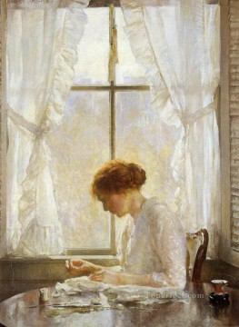Joseph DeCamp Painting - The Seamstress Tonalism painter Joseph DeCamp