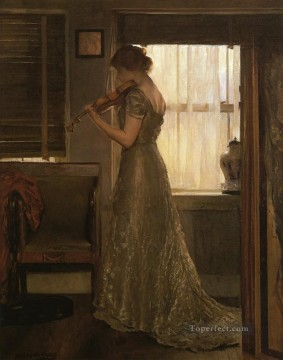 tonalism tonalist Painting - The Violinist aka The Violin Girl with a Violin III Tonalism painter Joseph DeCamp