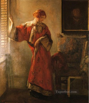 tonalism tonalist Painting - The Window Blind Tonalism painter Joseph DeCamp
