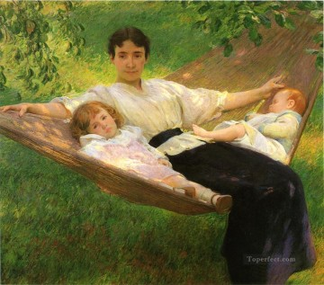 tonalism tonalist Painting - The Hammock Tonalism painter Joseph DeCamp