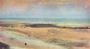 1870 Canvas - beach at ebbe 1870 Edgar Degas