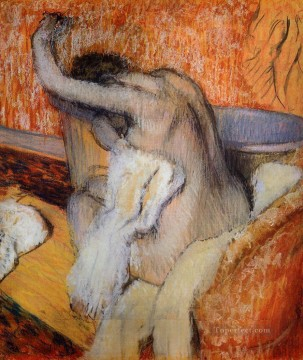 Self Painting - After the Bath Woman Drying Herself nude ballet dancer Edgar Degas
