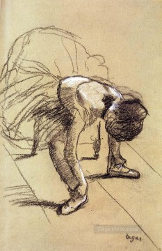 Impressionism Art Painting - Seated Dancer Adjusting Her Shoes Impressionism ballet dancer Edgar Degas