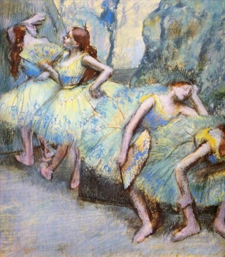 ballet Painting - ballet dancers in the wings 1900 Edgar Degas