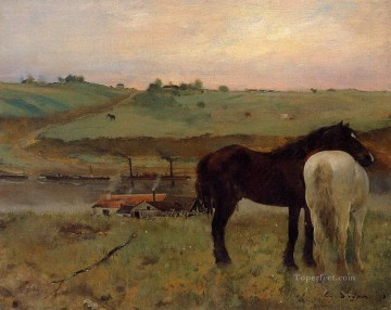 horses horse Painting - horses in a meadow 1871 Edgar Degas