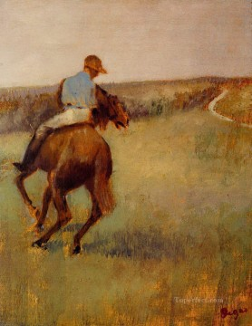 Edgar Degas Painting - jockey in blue on a chestnut horse Edgar Degas