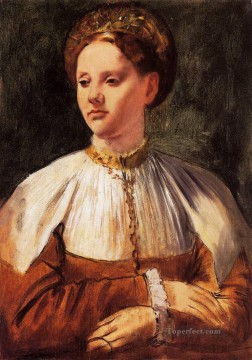 Edgar Degas Painting - portrait of a young woman after bacchiacca 1859 Edgar Degas