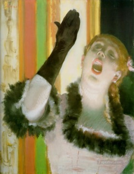 Impressionism Oil Painting - singer with glove Impressionism ballet dancer Edgar Degas