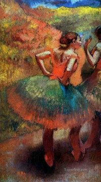 Edgar Degas Painting - two dancers in green skirts landscape scener Edgar Degas