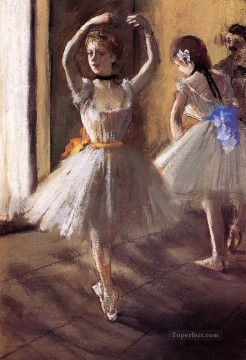 Edgar Degas Painting - two dancers in the studio dance school Edgar Degas