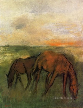 horses horse Painting - two horses in a pasture Edgar Degas