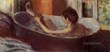 Edgar Degas Painting - woman in a bath sponging her leg Edgar Degas