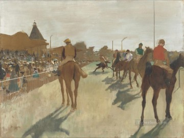 Edgar Degas Painting - Racehorses in Front of the Grandstand Edgar Degas