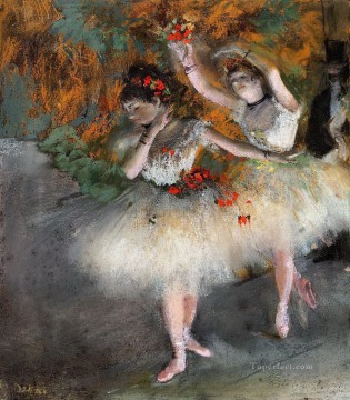 Edgar Degas Painting - Two Dancers Entering the Stage Edgar Degas
