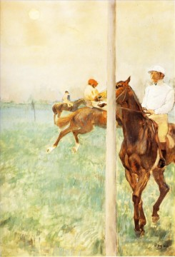 Edgar Degas Painting - jockeys before the start with flagpoll 1879 Edgar Degas
