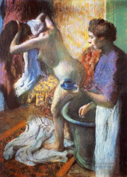 the cup of tea breakfast after bathing 1883 Edgar Degas Oil Paintings