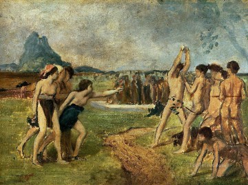 young spartans exercising 1860 1 Edgar Degas Oil Paintings