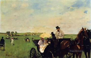 horce races racing Painting - A Carriage at the Races Edgar Degas