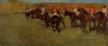 horse racing races sport Painting - At the Races Before the Start Edgar Degas